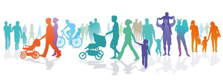 Illustration of families and people outdoors stock illustration