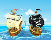 Colorful illustration with pirate ship battle in the sea. Vector vector illustration