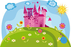 Colorful illustration with princess castle Royalty Free Stock Photo