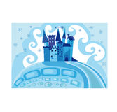 Colorful illustration with princess castle. Vector background with a snow princess castle Royalty Free Stock Photography