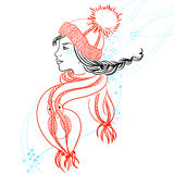 Colorful illustration with profile of girl Royalty Free Stock Photography