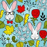 Colorful illustration of rabbits and red roses. Royalty Free Stock Image