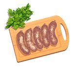 Colorful illustration of sausages on cutting board Royalty Free Stock Photo