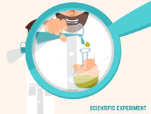 Colorful illustration with scientific instruments and equipment for research. Vector stock illustration