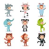 Colorful set of children in different animal costumes. Colorful illustration set of children in different animal costumes wolf, cow, sheep, elephant, panda, frog stock illustration