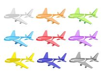 Colorful Illustration Set of Commercial Airplane I Stock Image