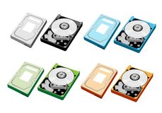 Colorful Illustration Set of Computer Hard Disk Stock Image