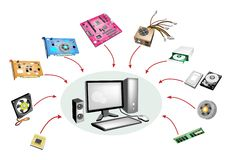 Colorful Illustration Set of Desktop Computer Equi Stock Image