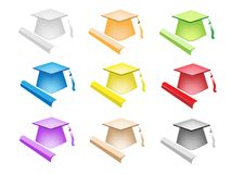 Colorful Illustration Set of Diploma and Graduatio Stock Photos