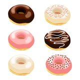 Vector illustration set of donuts with various top Royalty Free Stock Photo