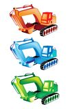 A Colorful Illustration Set of Excavator Icons Stock Photography