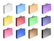 Colorful Illustration Set of Leather Suitcase Icon Stock Photos