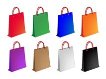 Colorful Illustration Set of Paper Shopping Bag Royalty Free Stock Images