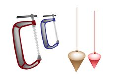 Colorful Illustration Set of Plumb Bob and Clamp Royalty Free Stock Photos