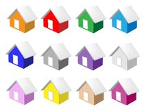 Colorful Illustration Set of Ten Houses Icon Stock Photos