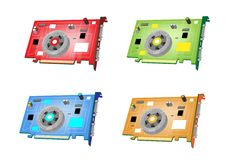 A Colorful Illustration Set of Video Card Stock Images