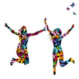 Colorful illustration with silhouettes of women jumping. And colored butterflies Stock Photo