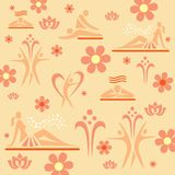 Relax Spa massage decorative background. Colorful illustration with spa and massage icons on light orange background. Vector available Royalty Free Stock Photography