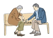 Two old men playing chess on the bench. Vector flat illustration. stock illustration