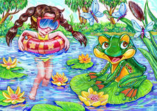 Colorful illustration of the girl swimming summer pond and a frog Stock Photo