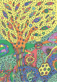Colorful illustration with surreal landscape - tree, flower and. Sky. Vector zentangle coloring page for adults or kids. Zendoodle vector art. Doodle cartoon Royalty Free Stock Photography