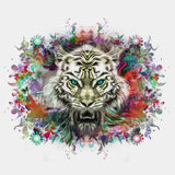 Colorful illustration of tiger Stock Photos