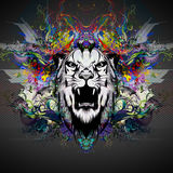 Colorful illustration of tiger. On graphic background Stock Images