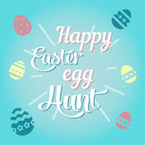 Colorful illustration with the title Happy Easter Egg Hunt. Colorful illustration with the title Happy Easter Egg Hunt royalty free illustration