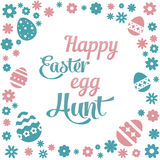 Colorful illustration with the title Happy Easter Egg Hunt and flowers on white background. Colorful illustration with the title Happy Easter Egg Hunt and stock illustration