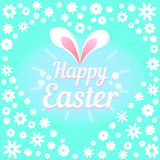 Colorful illustration with the title Happy Easter and flowers. Colorful figure with the title Happy Easter Stock Photo