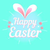Colorful illustration with the title Happy Easter and flowers. Colorful figure with the title Happy Easter stock illustration