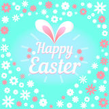 Colorful illustration with the title Happy Easter and flowers. Colorful figure with the title Happy Easter Royalty Free Stock Photos