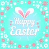 Colorful illustration with the title Happy Easter and flowers. Colorful figure with the title Happy Easter vector illustration