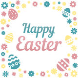 Colorful illustration with the title Happy Easter and flowers on white background. Colorful illustration with the title Happy Easter and flowers on white stock illustration