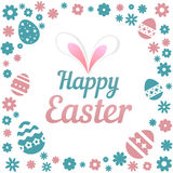 Colorful illustration with the title Happy Easter and flowers on white background. Colorful illustration with the title Happy Easter and flowers on white royalty free illustration
