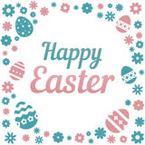 Colorful illustration with the title Happy Easter and flowers on white background. Colorful illustration with the title Happy Easter and flowers on white vector illustration