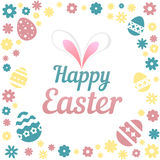 Colorful illustration with the title Happy Easter and flowers on white background. Colorful illustration with the title Happy Easter and flowers on white Royalty Free Stock Image