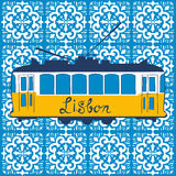 Colorful illustration of traditional Lisbon tram Stock Images