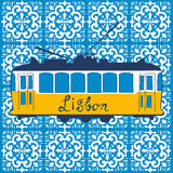 Colorful illustration of traditional Lisbon tram Stock Photo