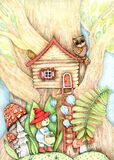 Colorful illustration, a tree house for a cute gnome, bright fly agarics, blue bells.