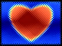 Abstract bright pattern. Red heart on a blue background. Pixel art. Vector. stock image