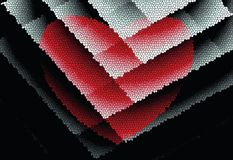 Abstract bright pattern. Red heart on stained glass. stock photo