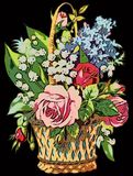 Colorful illustration of Vintage bouquet of flowers with rose. Colorful illustration of Vintage basket of flowers with rose with black background Stock Photos