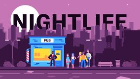Colourful illustration of nightlife in the city. A colorful illustration which depicts young people who communicate, relax, live an active nightlife in a big vector illustration