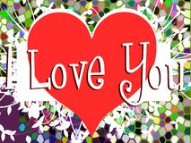 Colorful illustration with word Love and heart Royalty Free Stock Images