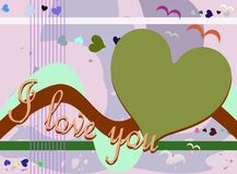 Colorful illustration with word Love and hearts Royalty Free Stock Image