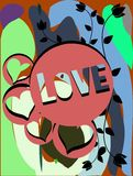 Colorful illustration with word Love and hearts Royalty Free Stock Images