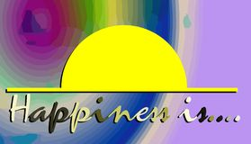 Colorful illustration with words happiness is Royalty Free Stock Images