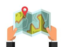Man on a hiking trip holding a map in his hands. vector illustration