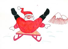 Colorful illustrations  of Santa claus stock illustration